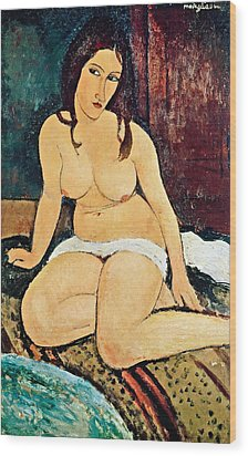 Seated Nude Wood Print by Amedeo Modigliani