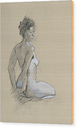 Seated Nude Wood Print by Robert Bissett