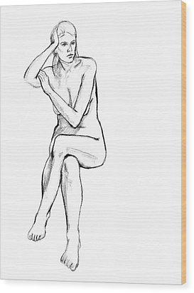 Seated Nude Woman Wood Print by Adam Long