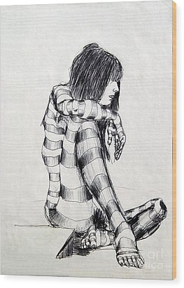 Seated Striped Nude Wood Print by Ron Bissett