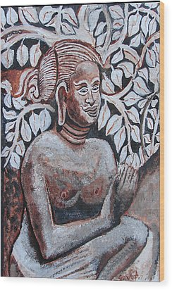 Wood Print featuring the painting Seated Women In Javanse Manner by Anand Swaroop Manchiraju
