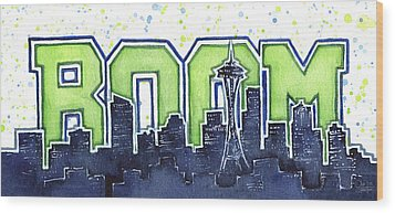 Seattle 12th Man Legion Of Boom Painting Wood Print by Olga Shvartsur