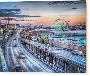 Seattle At Twilight Wood Print