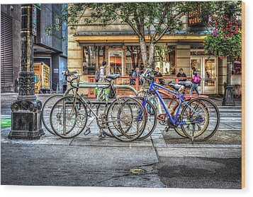 Wood Print featuring the photograph Seattle Bicycles by Spencer McDonald