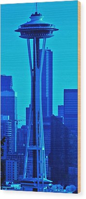 Seattle Blue Wood Print by Martin Cline