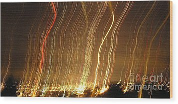 Seattle Burning At Night Wood Print by Silvie Kendall