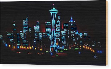 Seattle By Black Light Wood Print
