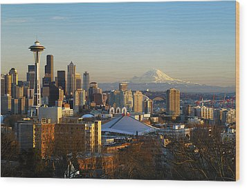 Seattle Cityscape Wood Print by Greg Vaughn - Printscapes
