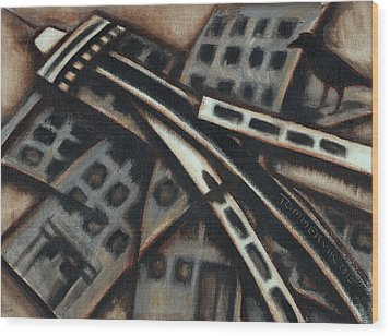 Wood Print featuring the painting Tommervik Seattle Downtown Art Print by Tommervik