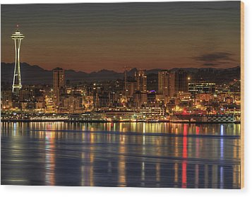 Seattle Downtown Skyline From Alki Beach Dawn Wood Print by David Gn Photography
