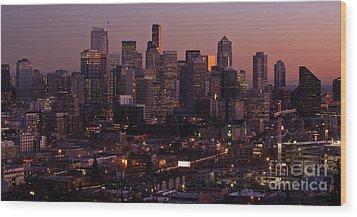 Seattle Dusk Wood Print by Mike Reid