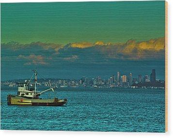 Seattle Evening Wood Print by Dale Stillman