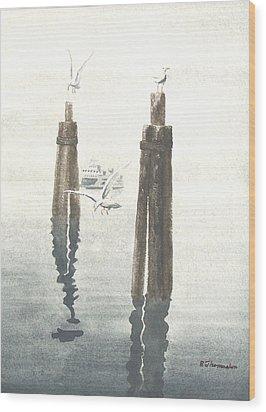 Seattle Ferry Wood Print by Robert Thomaston