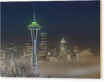 Seattle Foggy Night Lights Wood Print
