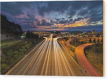 Seattle Freeway Light Trails Wood Print by David Gn