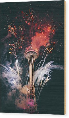 Seattle Wood Print by Happy Home Artistry