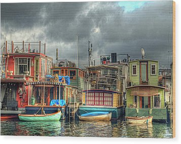 Seattle Houseboats Fine Art Photograph Wood Print by Greg Sigrist