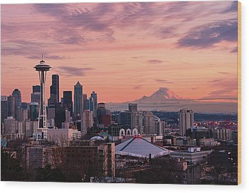 Seattle In Pink Wood Print by Aaron Eakin