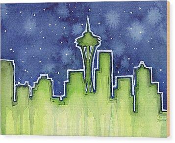 Seattle Night Sky Watercolor Wood Print