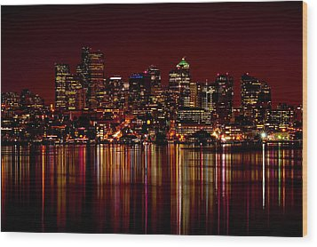Seattle Nightscape Wood Print by Rich Leighton