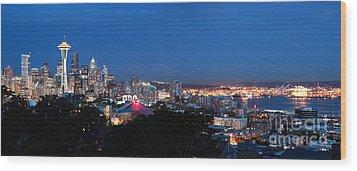 Seattle Panorama At Twilight Wood Print