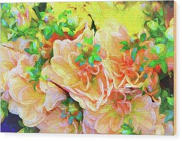 Seattle Public Market Flowers Wood Print by Greg Sigrist
