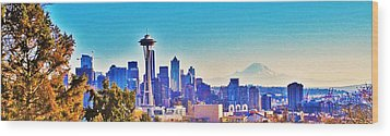Seattle Sky Wood Print by Martin Cline
