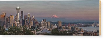 Wood Print featuring the photograph Seattle Skyline And Mt. Rainier Panoramic Hd by Adam Romanowicz