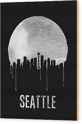 Seattle Skyline Black Wood Print