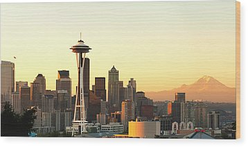 Seattle Skyline From Kerry Park Wood Print