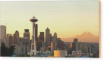Seattle Skyline From Kerry Park Wood Print by Alvin Kroon