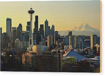 Seattle Skyline Wood Print by Greg Sigrist