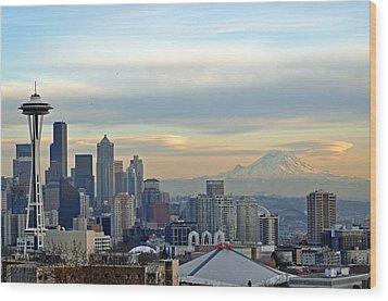 Seattle Skyline Wood Print by Matthew Adair