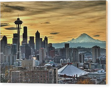 Seattle Skyline - Mt Rainier Wood Print by Greg Sigrist