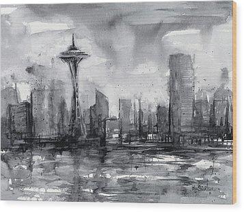 Seattle Skyline Painting Watercolor  Wood Print by Olga Shvartsur