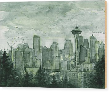 Seattle Skyline Watercolor Space Needle Wood Print by Olga Shvartsur