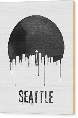 Seattle Skyline White Wood Print by Naxart Studio