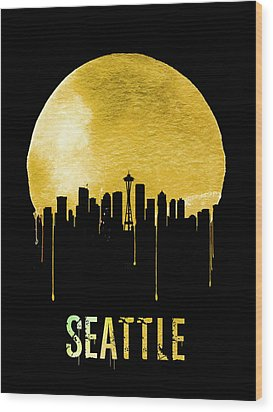 Seattle Skyline Yellow Wood Print by Naxart Studio