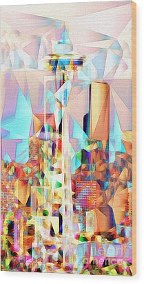 Wood Print featuring the photograph Seattle Space Needle In Abstract Cubism 20170327 by Wingsdomain Art and Photography
