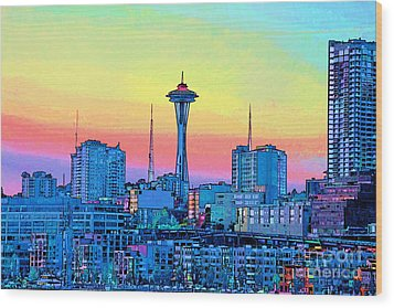 Seattle Space Needle Wood Print by RJ Aguilar