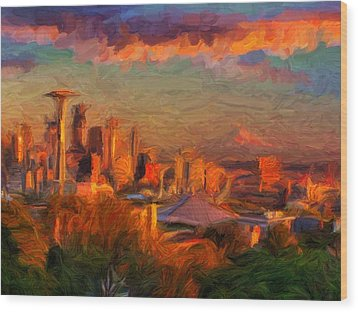 Seattle Sunset 1 Wood Print by Caito Junqueira
