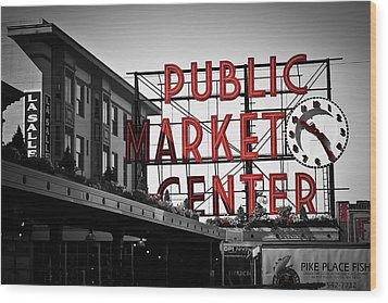 Seattle Time Wood Print