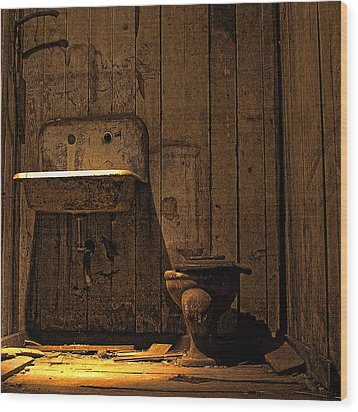 Seattle Underground Bathroom Wood Print by David Patterson