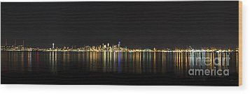 Seattle Washington Skyline From Alki Seacrest Park At 10mm Wood Print