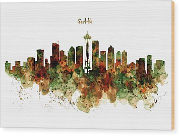 Wood Print featuring the mixed media Seattle Watercolor Skyline Poster by Marian Voicu