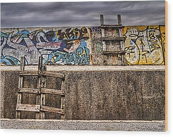 Seawall Wood Print by Ryan Wyckoff