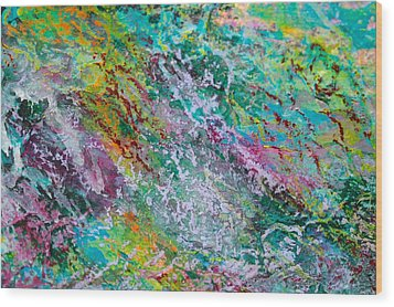 Seaweed And Spray Color Poem Wood Print
