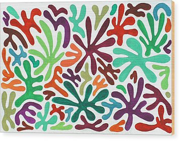 Seaweed Splash Colorful Abstract Gouache Painting Green Red Orange Brown Blue Wood Print by Wendy Middlemass
