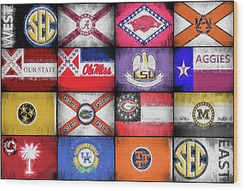 Sec Flags Wood Print by JC Findley