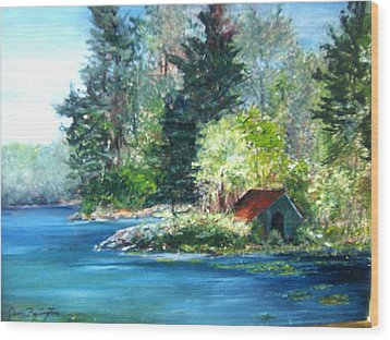 Secluded Boathouse-millsite Lake  Wood Print